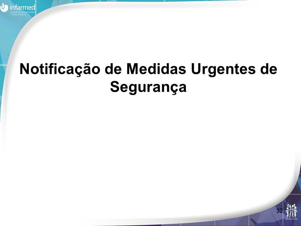 Notificação de Medidas Urgentes de Segurança