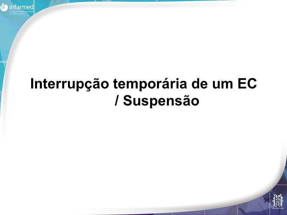 Interrupção temporária de um EC / Suspensão
