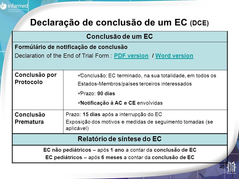 Declaração de conclusão de um EC (DCE)