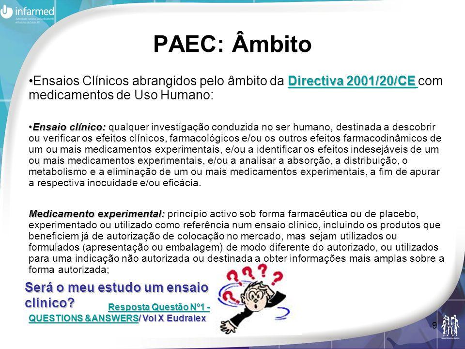 PAEC: Âmbito Ensaios Clínicos abrangidos pelo âmbito da Directiva 2001/20/CE com medicamentos de Uso Humano: