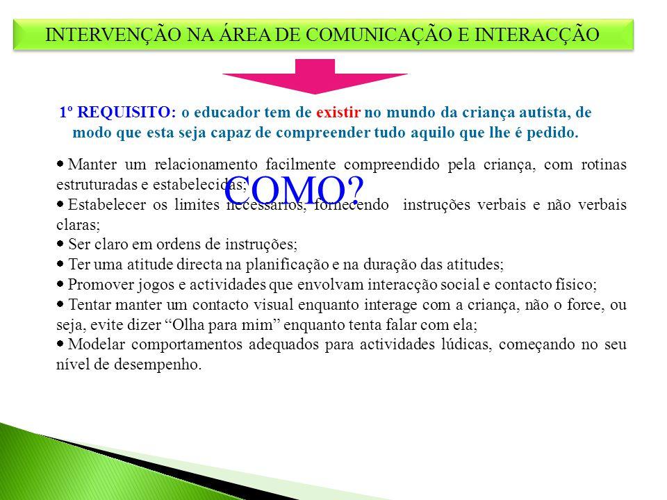 INTERVENÇÃO NA ÁREA DE COMUNICAÇÃO E INTERACÇÃO