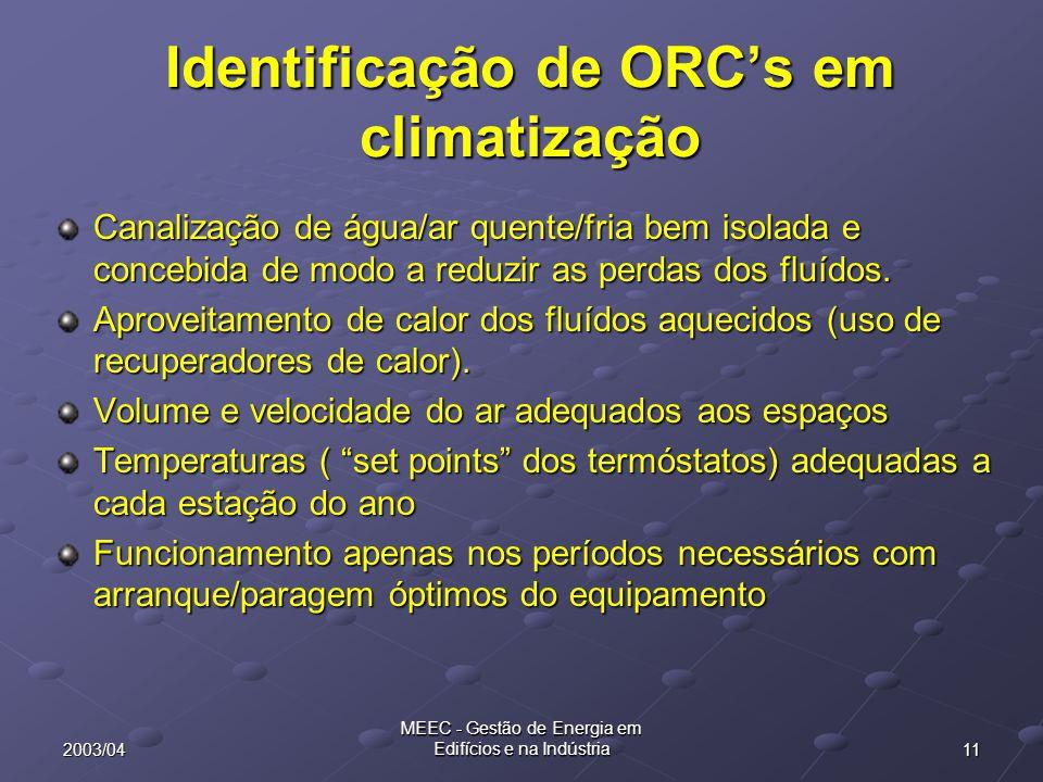 Identificação de ORC's em climatização