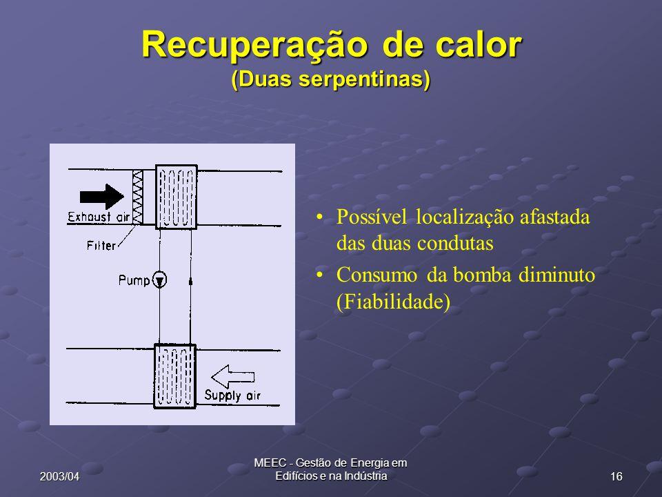 Recuperação de calor (Duas serpentinas)