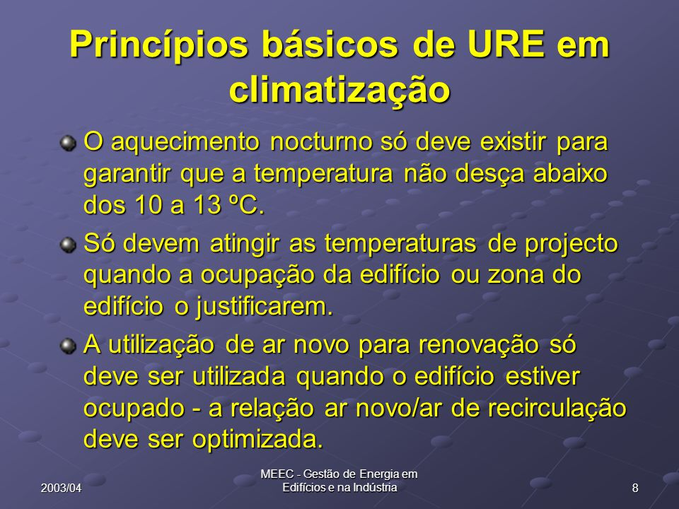 Princípios básicos de URE em climatização