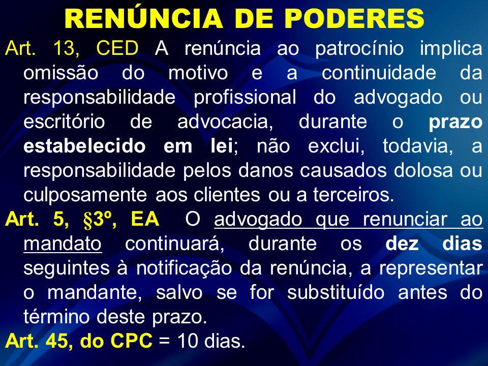 RENÚNCIA DE PODERES