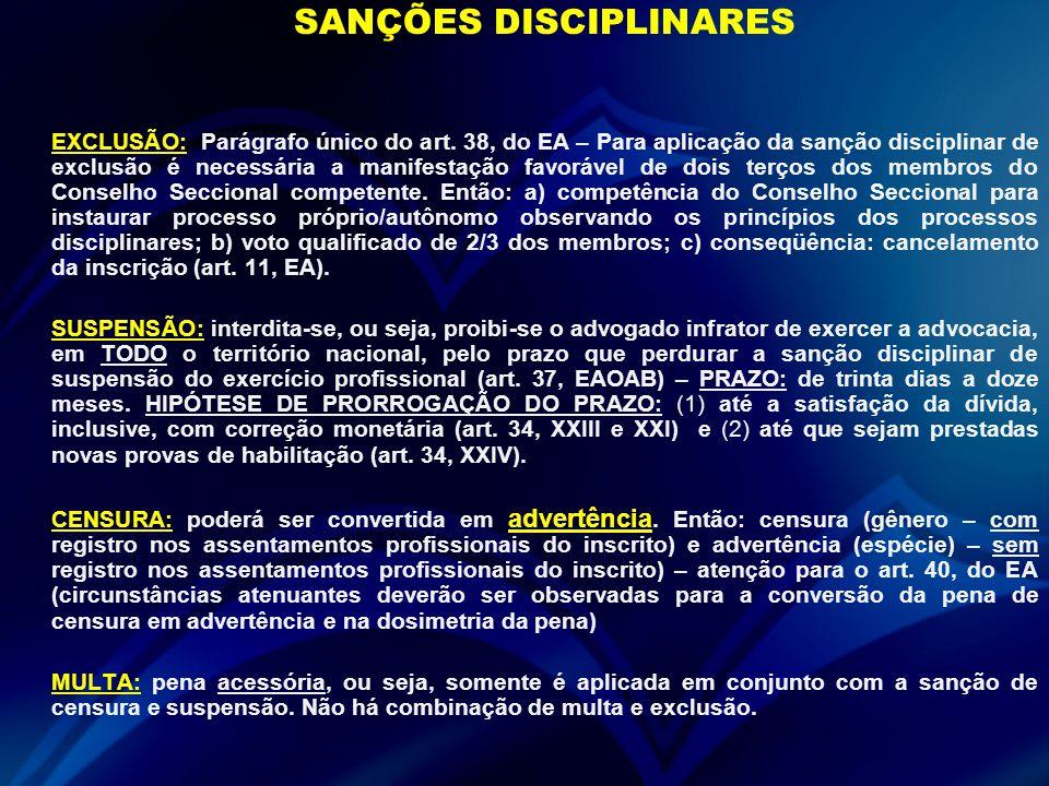 SANÇÕES DISCIPLINARES