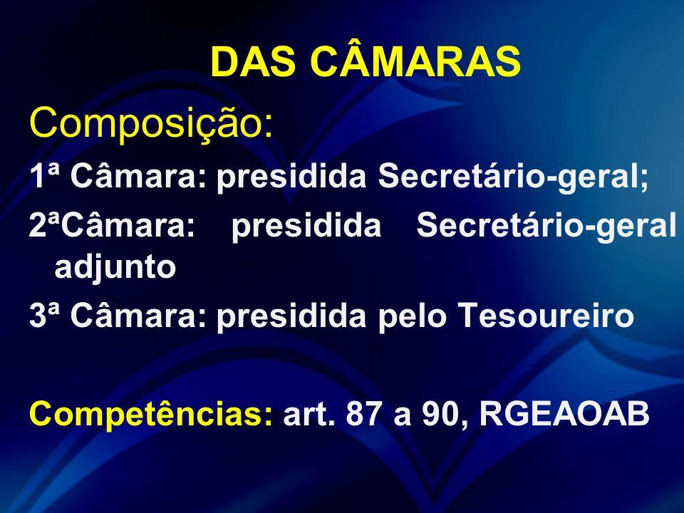 Composição: DAS CÂMARAS 1ª Câmara: presidida Secretário-geral;