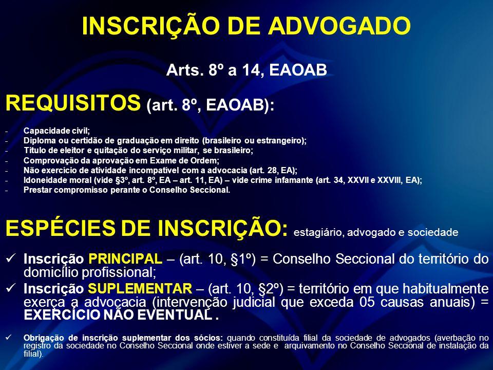 INSCRIÇÃO DE ADVOGADO REQUISITOS (art. 8º, EAOAB):
