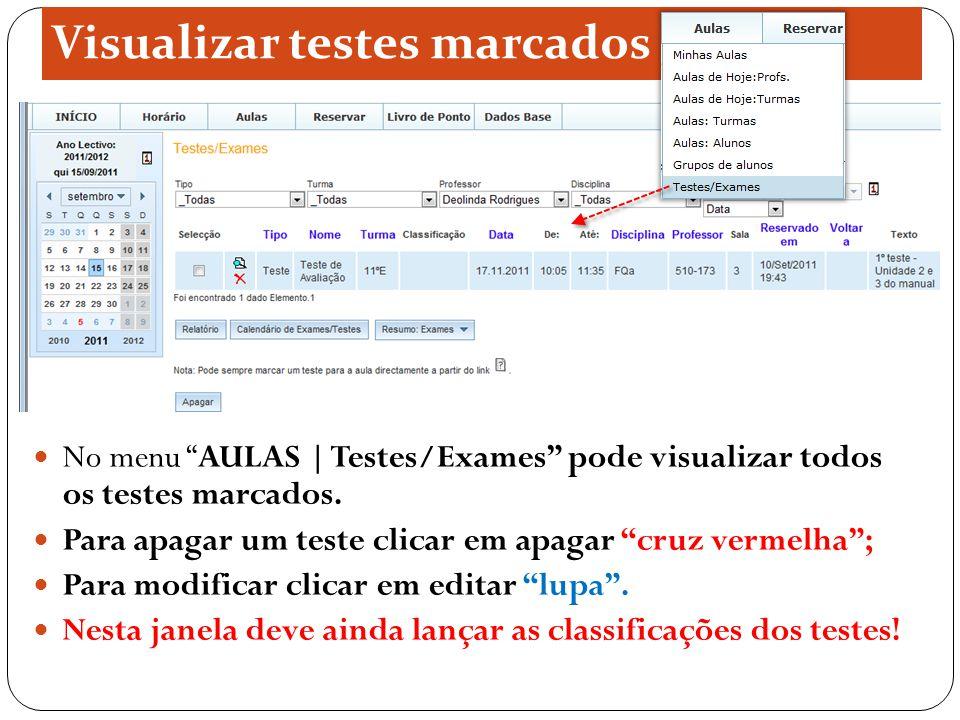 Visualizar testes marcados