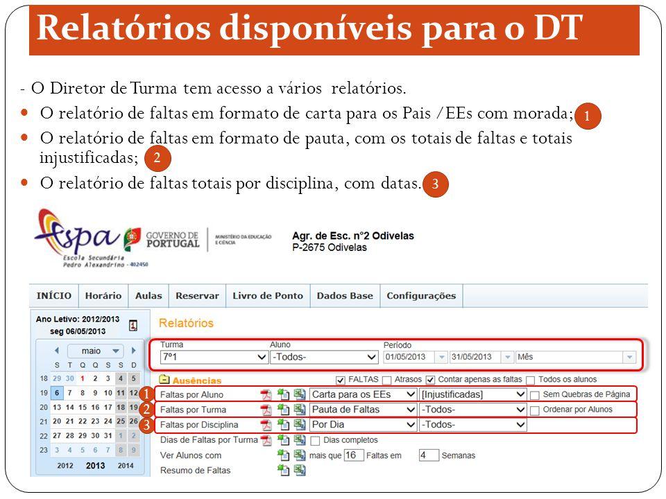 Relatórios disponíveis para o DT