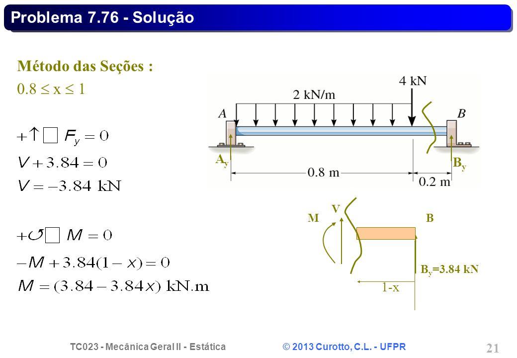Problema 7.76 - Solução Método das Seções : 0.8  x  1 Ay By 1-x