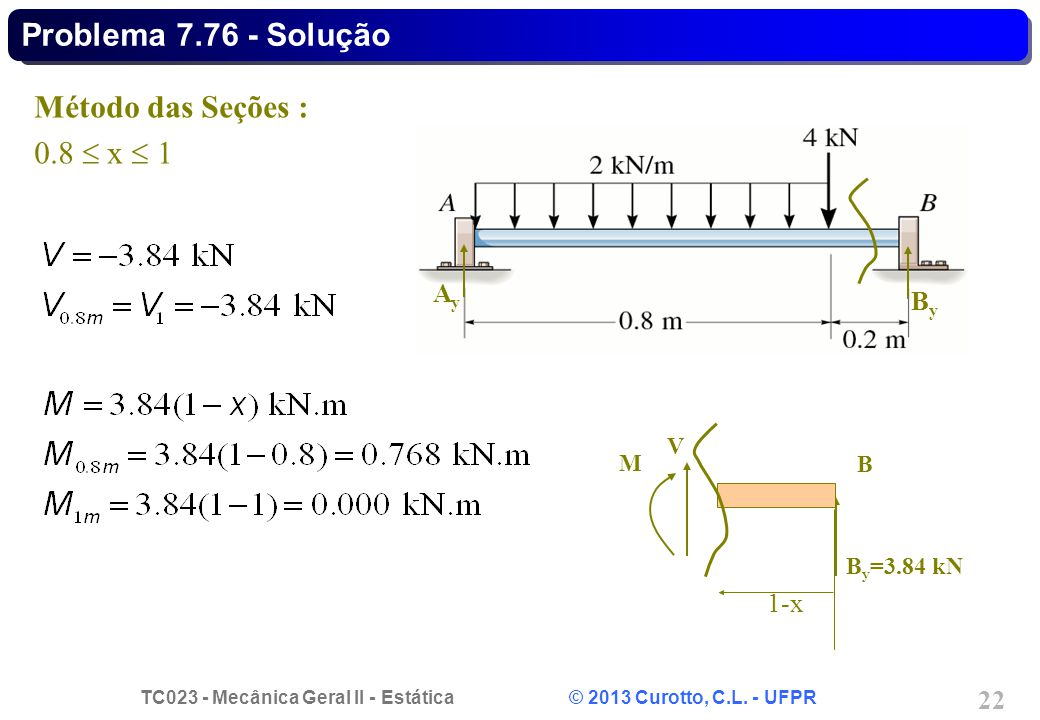 Problema 7.76 - Solução Método das Seções : 0.8  x  1 Ay By 1-x V M