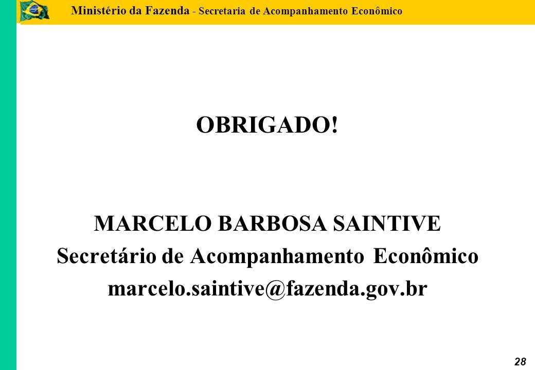 MARCELO BARBOSA SAINTIVE Secretário de Acompanhamento Econômico