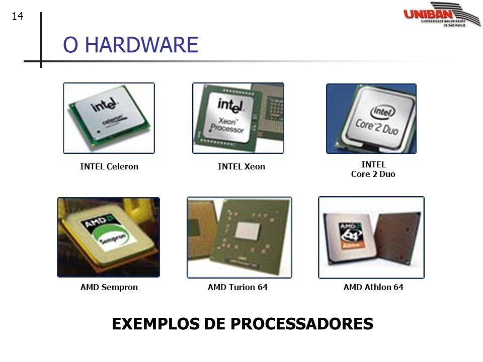O HARDWARE EXEMPLOS DE PROCESSADORES INTEL Celeron INTEL Xeon INTEL