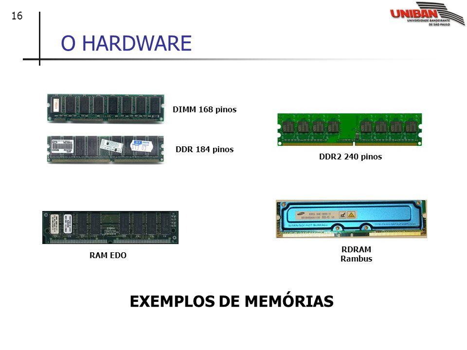 O HARDWARE EXEMPLOS DE MEMÓRIAS DIMM 168 pinos DDR 184 pinos