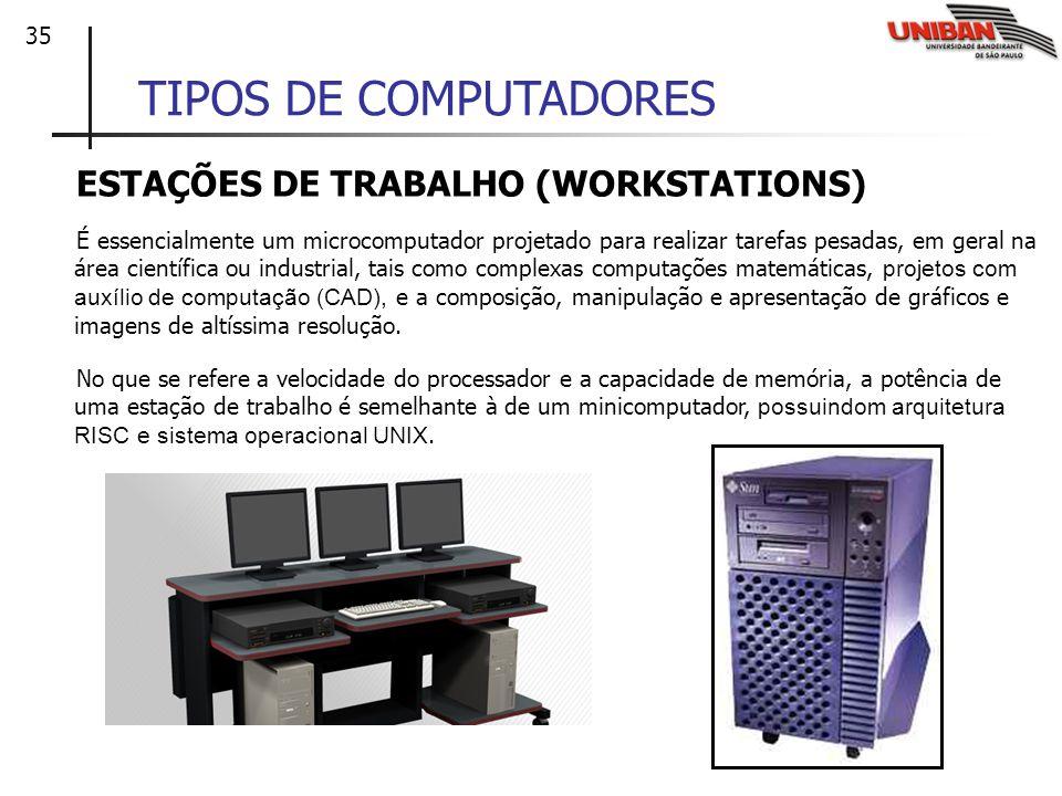 TIPOS DE COMPUTADORES ESTAÇÕES DE TRABALHO (WORKSTATIONS)
