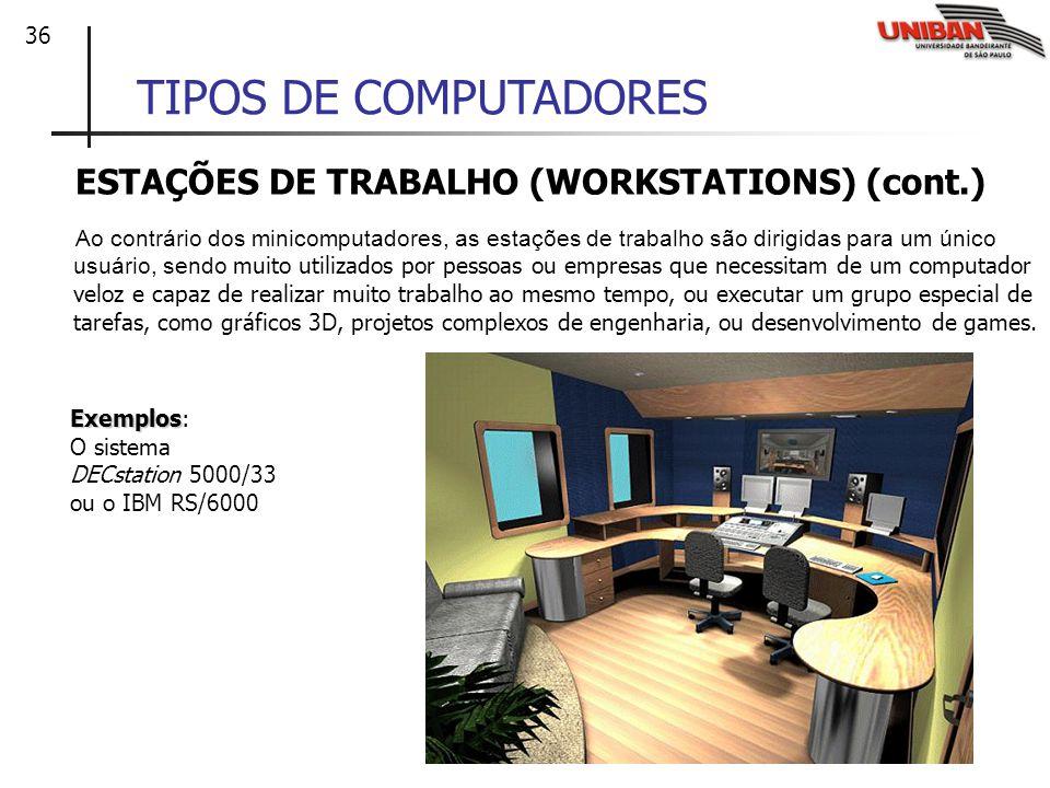TIPOS DE COMPUTADORES ESTAÇÕES DE TRABALHO (WORKSTATIONS) (cont.)