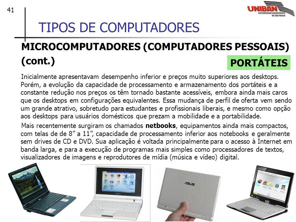 TIPOS DE COMPUTADORES MICROCOMPUTADORES (COMPUTADORES PESSOAIS)