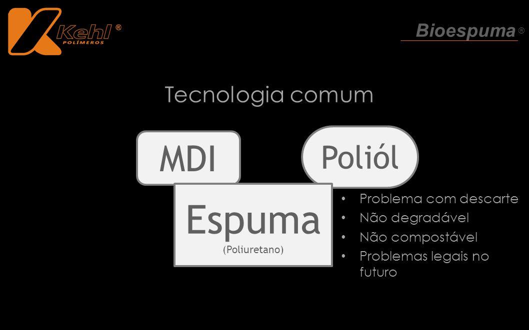 Espuma MDI Poliól Tecnologia comum Bioespuma ® Problema com descarte