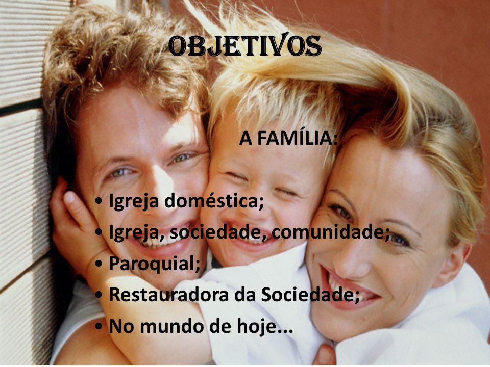 OBJETIVOS A FAMÍLIA: Igreja doméstica; Igreja, sociedade, comunidade;