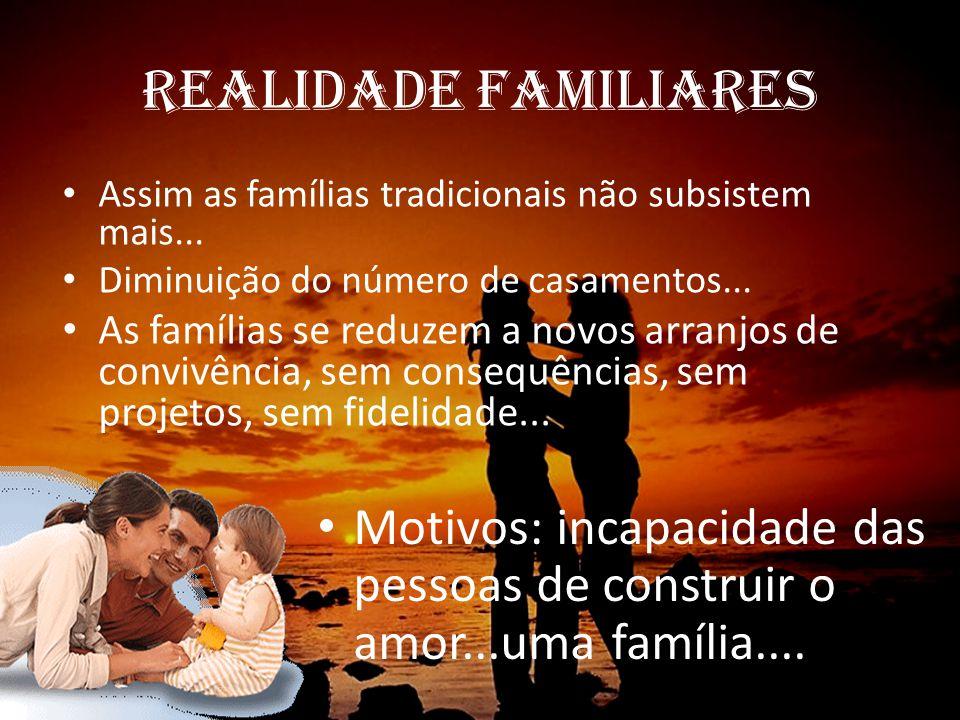 REALIDADE FAMILIARES Assim as famílias tradicionais não subsistem mais... Diminuição do número de casamentos...
