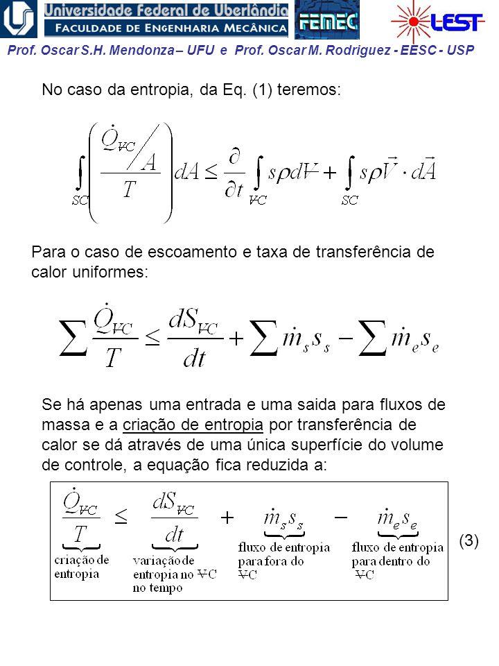 No caso da entropia, da Eq. (1) teremos: