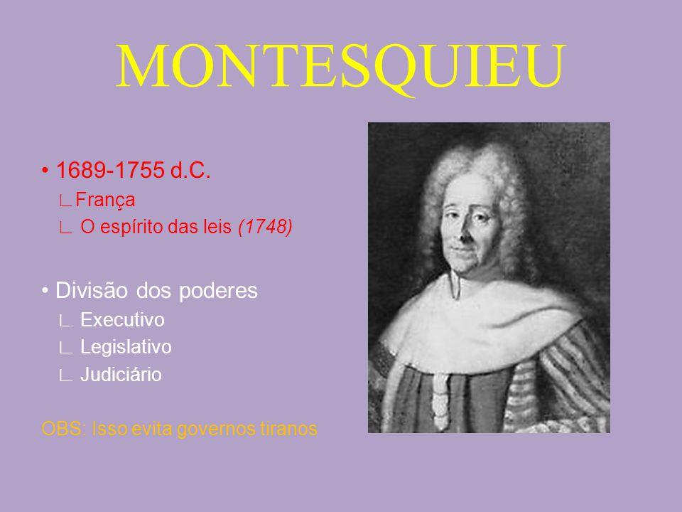 MONTESQUIEU • 1689-1755 d.C. • Divisão dos poderes ∟França