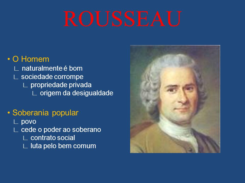 ROUSSEAU • O Homem • Soberania popular ∟ naturalmente é bom