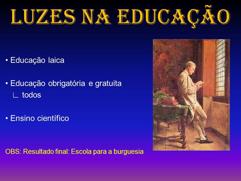 LUZES NA EDUCAÇÃO • Educação laica • Educação obrigatória e gratuita