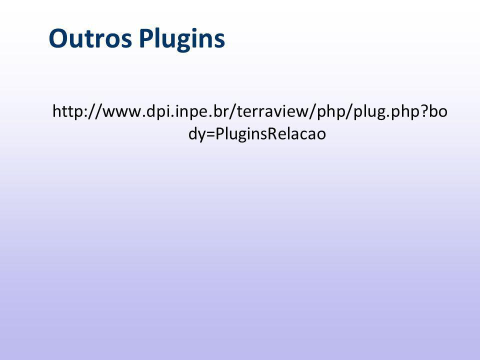 Outros Plugins http://www.dpi.inpe.br/terraview/php/plug.php body=PluginsRelacao