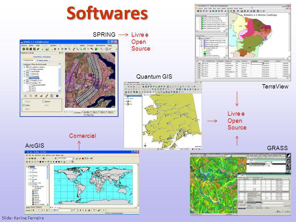 Softwares SPRING Livre e Open Source Quantum GIS TerraView