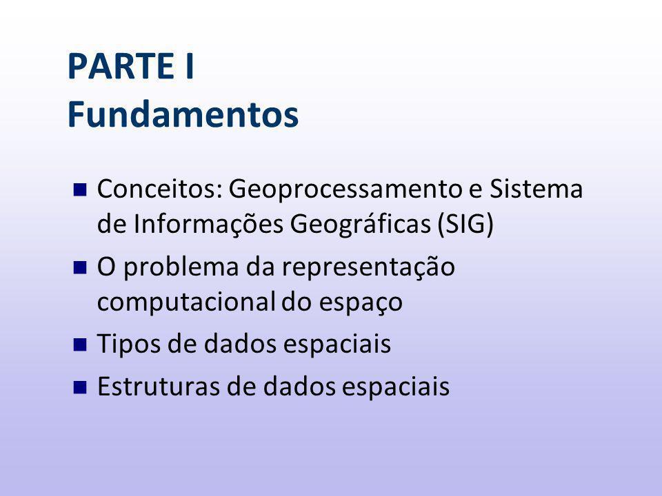 PARTE I Fundamentos Conceitos: Geoprocessamento e Sistema de Informações Geográficas (SIG) O problema da representação computacional do espaço.