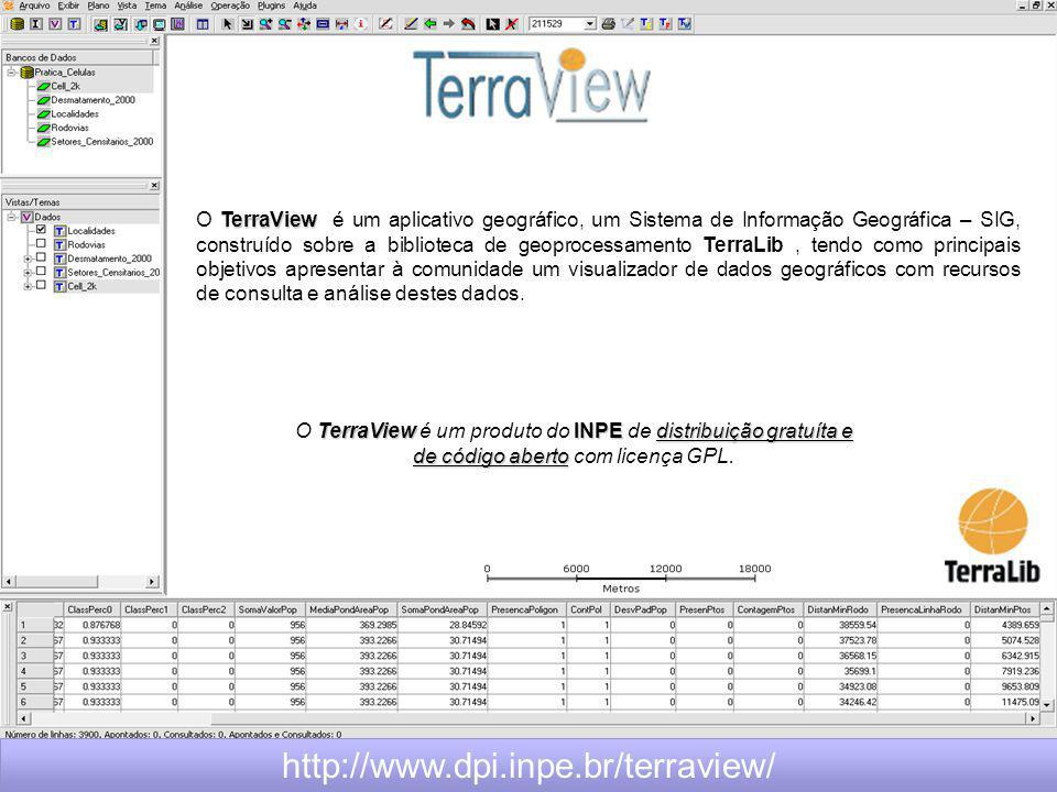 O TerraView é um aplicativo geográfico, um Sistema de Informação Geográfica – SIG, construído sobre a biblioteca de geoprocessamento TerraLib , tendo como principais objetivos apresentar à comunidade um visualizador de dados geográficos com recursos de consulta e análise destes dados.