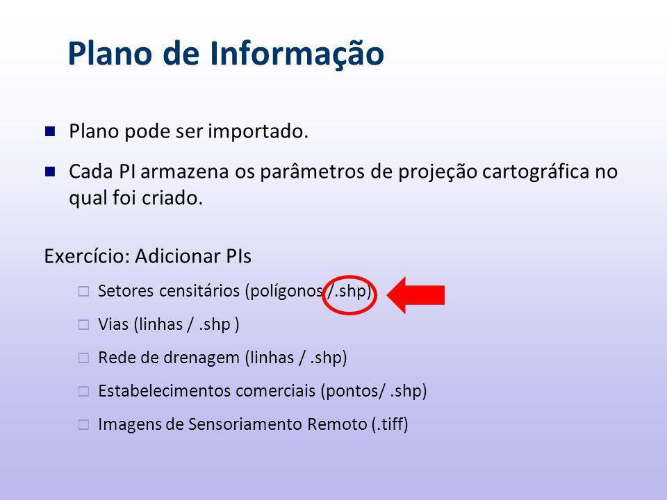 Plano de Informação Plano pode ser importado.