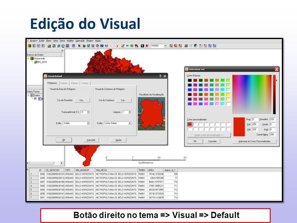 Botão direito no tema => Visual => Default