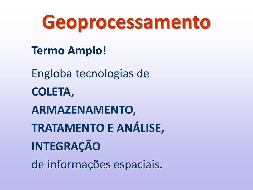 Geoprocessamento Termo Amplo! Engloba tecnologias de COLETA,