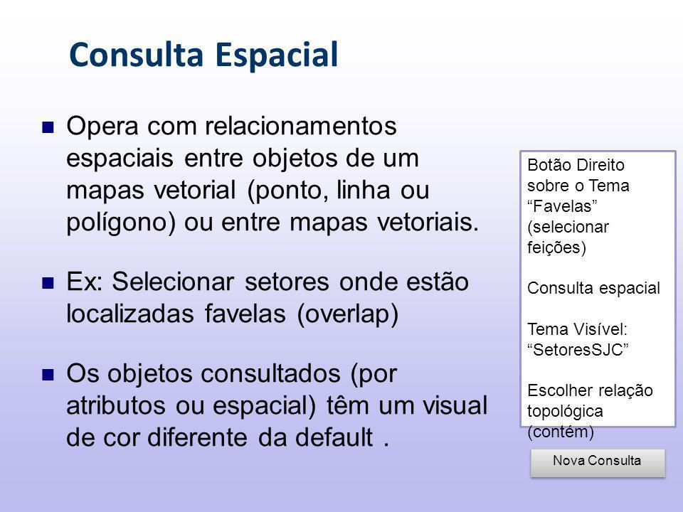 Consulta Espacial Opera com relacionamentos espaciais entre objetos de um mapas vetorial (ponto, linha ou polígono) ou entre mapas vetoriais.