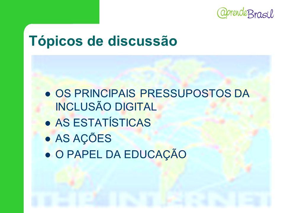 Tópicos de discussão OS PRINCIPAIS PRESSUPOSTOS DA INCLUSÃO DIGITAL