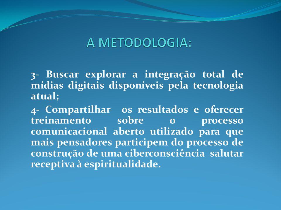 A METODOLOGIA: 3- Buscar explorar a integração total de mídias digitais disponíveis pela tecnologia atual;