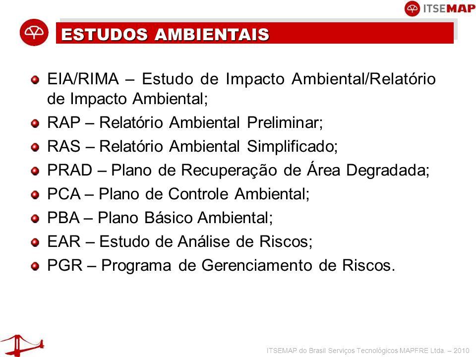 ESTUDOS AMBIENTAIS EIA/RIMA – Estudo de Impacto Ambiental/Relatório de Impacto Ambiental; RAP – Relatório Ambiental Preliminar;