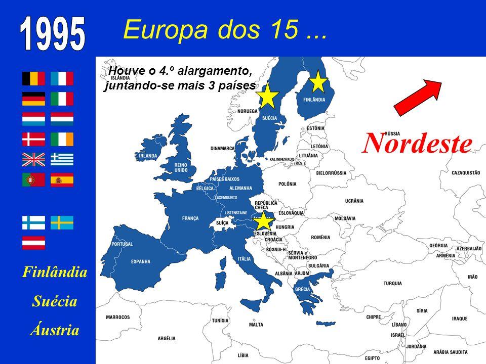 Houve o 4.º alargamento, juntando-se mais 3 países