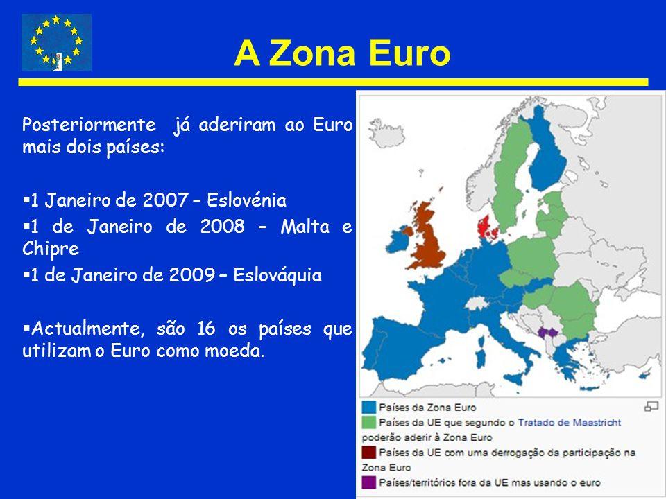 A Zona Euro Posteriormente já aderiram ao Euro mais dois países: