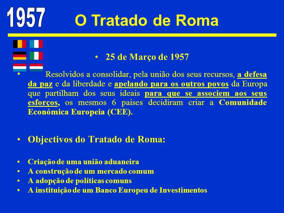 O Tratado de Roma 1957 Objectivos do Tratado de Roma: