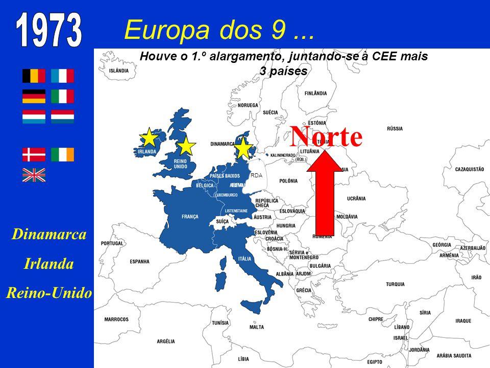 Houve o 1.º alargamento, juntando-se à CEE mais