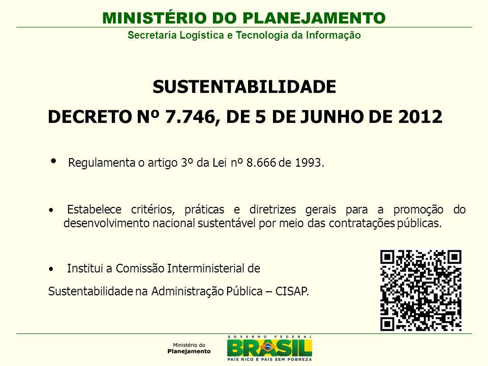 SUSTENTABILIDADE DECRETO Nº 7.746, DE 5 DE JUNHO DE 2012