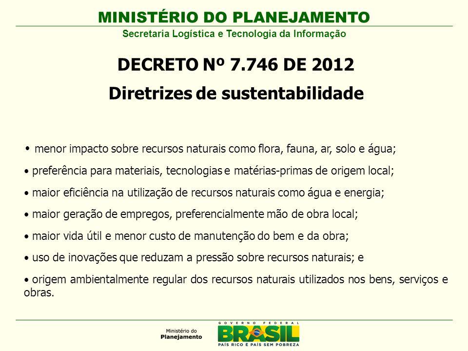 DECRETO Nº 7.746 DE 2012 Diretrizes de sustentabilidade