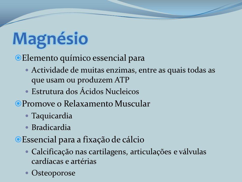 Magnésio Elemento químico essencial para