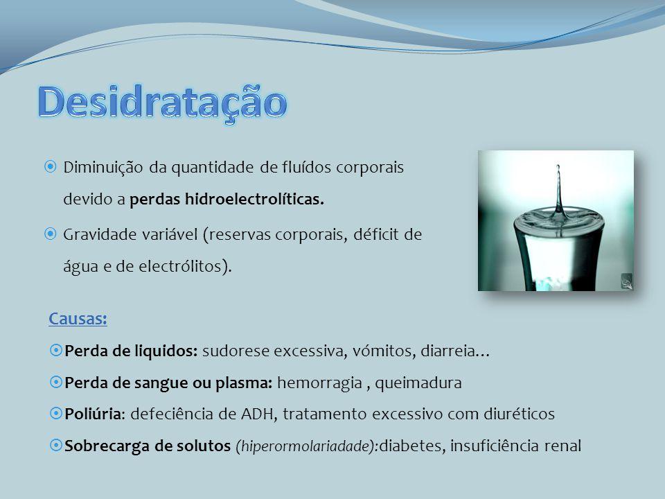 Desidratação Diminuição da quantidade de fluídos corporais devido a perdas hidroelectrolíticas.