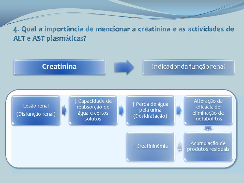 4. Qual a importância de mencionar a creatinina e as actividades de ALT e AST plasmáticas
