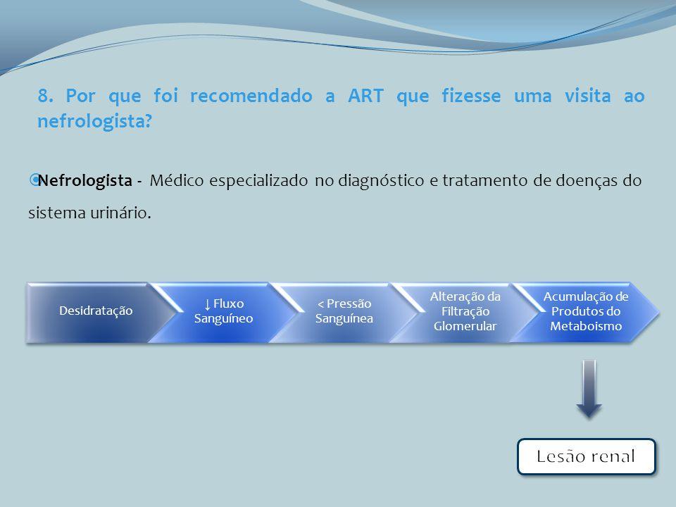 8. Por que foi recomendado a ART que fizesse uma visita ao nefrologista